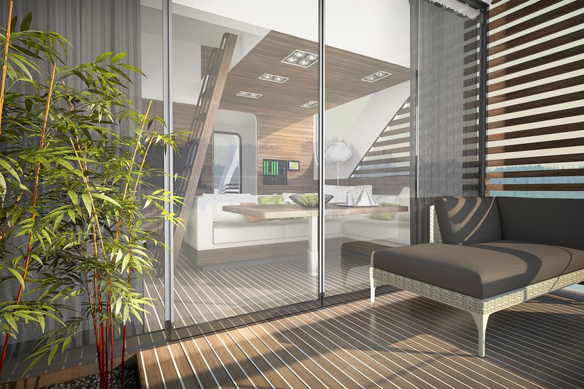 PIC FROM SALT&WATER/ CATERS NEWS - (PICTURED: The interior of the catamaran apartments- the patio looking through to the living area) - This is the amazing hotel where guests can drift off in a private catamaran and then come back to dock at reception for dinner. The project, developed by Salt & Water design studio, aims to provide a perfect holiday without disturbing the natural environment. The floating hotel has two main parts  a central floating reception area and a series of catamaran units for accommodation. When passing through the main floating reception area, guests reach pathways connected to the apartment catamarans. Each apartment is a catamaran that can be easily separated from the dock, allowing guests to choose their ideal location. SEE CATERS COPY.